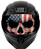 V33 American Flag Skull VISOR TINT DECAL Graphic Sticker Helmet Fits: Icon...