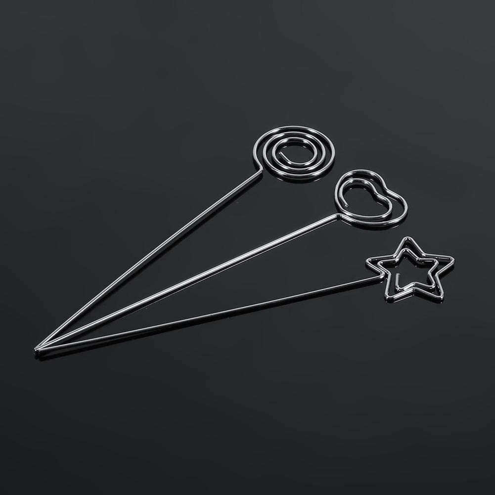 50 Pcs Paper Clip Holders Silver DIY Craft Metal Round Wires Photo Card Picture Memo Paper Note Display Clip Holders for Office School Home Cake Decoration Star Shape
