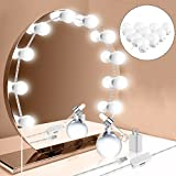 Hollywood Style LED Vanity Mirror Lights Kit, Vanity Lights Makeup Lighting Fixture Strip with 10 Dimmable Light Bulbs, Smart Dimmer, USB Adapter for Makeup Vanity Table Set in Dressing Room