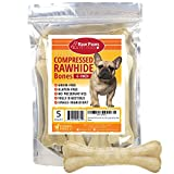 Raw Paws Pet Premium 6-inch Compressed Rawhide Bones for Dogs, 5-count – Packed in USA – Long Lasting Dog Chews – Natural Pressed Rawhides – Medium Dog Bones – Beef Hide Bones for Aggressive Chewers