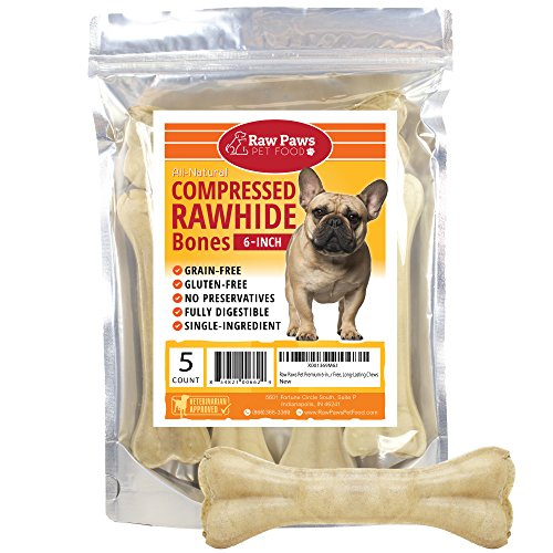 Raw Paws Pet Premium 6-inch Compressed Rawhide Bones for Dogs, 5-count - Packed in USA - Long Lasting Dog Chews - Natural Pressed Rawhides - Medium Dog Bones - Beef Hide Bones for Aggressive Chewers - White Rawhide Bones