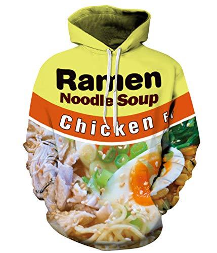PIZOFF Unisex Ramen Noodle Hoodie Pockets 3D Pullover Hoodie Drawstring Hooded Sweatshirts Hoodies AM006-01-L
