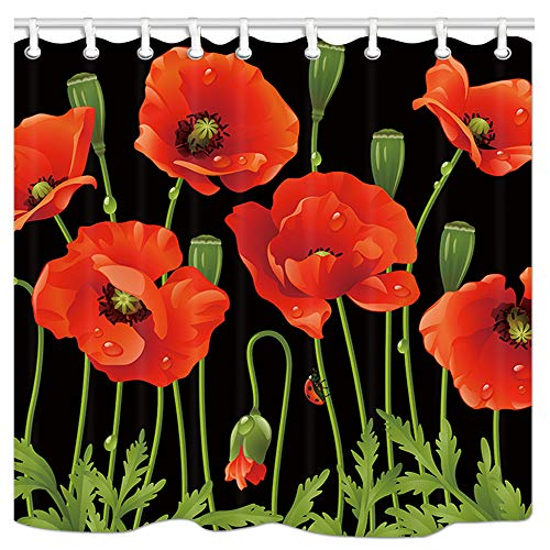 DYNH Spring Flowers Bath Curtains for Bathroom, Red Floral Plant on Black, Fabric Shower Curtain Liner Mildew Resistant Waterproof, Drapes Accessories Hooks Included, 69X70 in