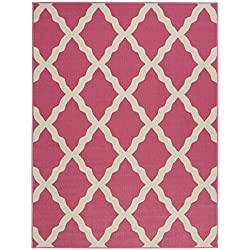 "Ottomanson Glamour Collection Contemporary Moroccan Trellis Design Kids Rug (Non-Slip) Kitchen and Bathroom Mat, 3'3"" X 5'0"", Pink"