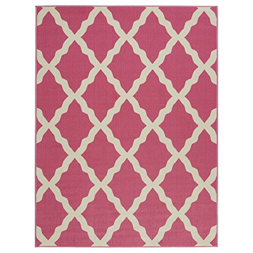 Hot Pink Contemporary Rug (Ottomanson Glamour Collection Hot Contemporary Moroccan Trellis Design Kids (Non-Slip) Kitchen and Bathroom Mat Rug, 5'0