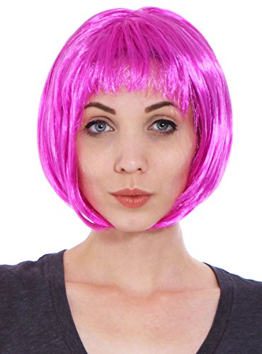 [Simplicity Women's Costume Party Short Straight Bob Full Hair Wig, Purple] (Sweeney Todd Halloween)