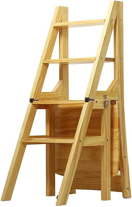 Plegable Multicapa sillas de Escalera Madera Maciza Taburete de la Biblioteca 4 Niveles Multifuncional Escaleras nórdico Creativo Silla (Color: Color Madera): Amazon.es: Hogar