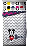 Disney Mickey Mouse Chevron Twin/Full Comforter - Super Soft Kids Reversible Bedding features Mickey Mouse - Fade Resistant Polyester Microfiber Fill (Official Disney Product)