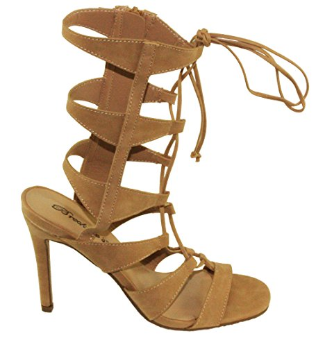 Breckelles Womens Swagger-07 Gladiator Style Lace up High Heel Sandals Natural wqed8lP