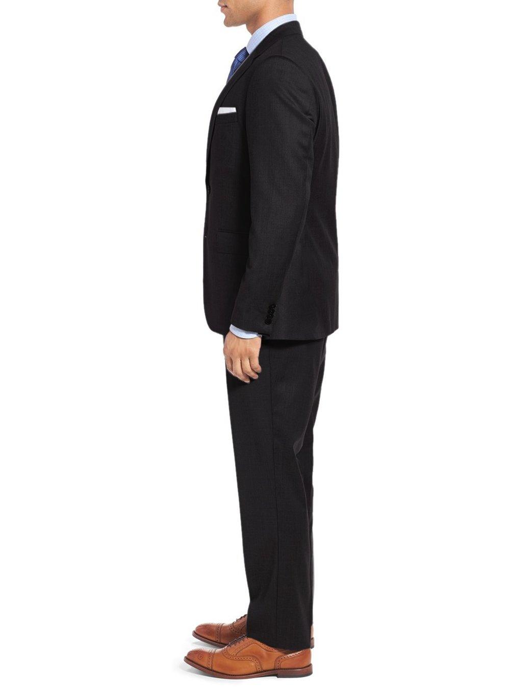 Salvatore Exte Men's 3-piece Suit Set Two Button Blazer Jacket Pants Tux Vest (40 Short US / 50S EU / W 34'', Black) by Salvatore Exte (Image #3)