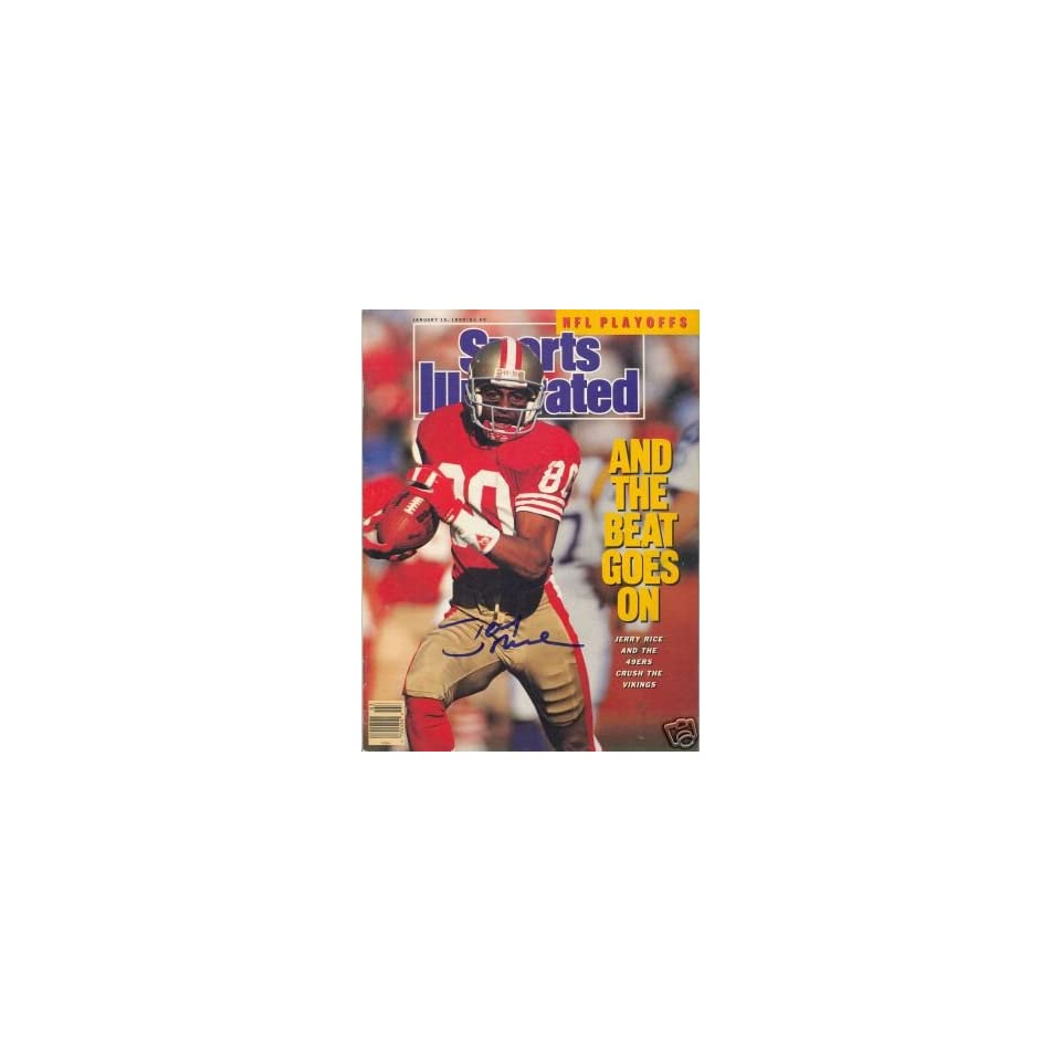 Jerry Rice Autographed Picture   Sf Wr Si Sports Illustrated
