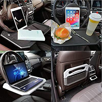 XBY-US Auto Steering Wheel Desk, Laptop, Tablet, iPad Or Notebook Car Travel Table, Food Eating Hook On Steering Wheel Tray,for Drivers (Grey): Automotive