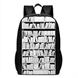 17 Inch School Laptop Backpack,Education Themed Monochrome Graphic of Bookshelves with Lots of Books,Casual Daypack for Business/College/Women/Men