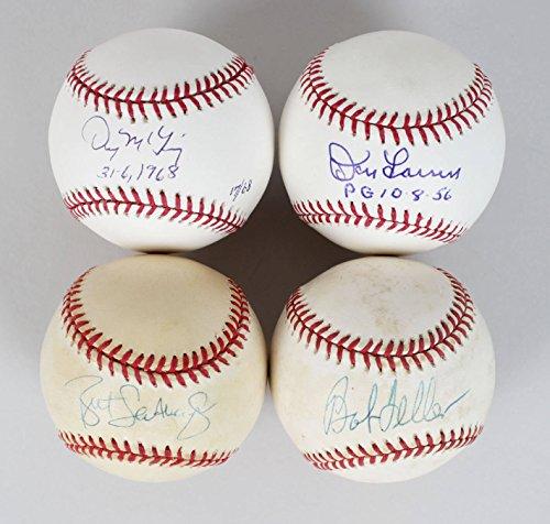 (Lot of Pitchers - Don Larsen, Bob Feller, Denny Mclain & Brett Saberhagen Signed Baseballs - JSA)