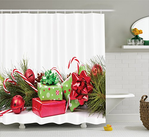 Ambesonne Christmas Shower Curtain, Ornate Boxes with Dots C