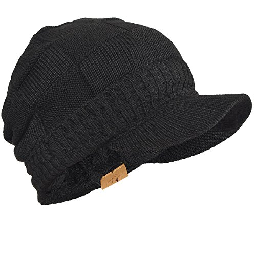 FORBUSITE Knit Visor Beanie Skull Cap Hat for Men Women Winter B322 (Black)