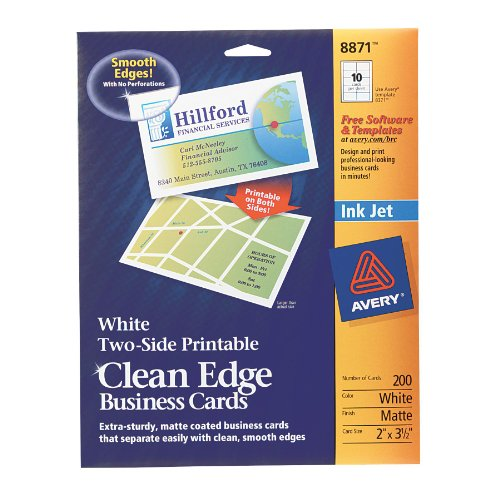 Avery Two-Side Printable Clean Edge Business Cards for Inkjet Printers, Matte, White