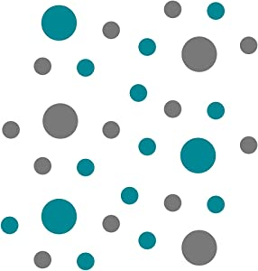Turquoise/Grey Vinyl Wall Stickers - 2 & 4 inch Circles (30 Decals)