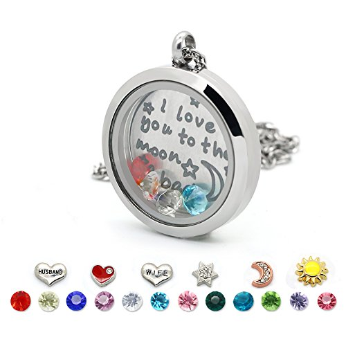 Floating Living Memory Lockets-Stainless Steel Charms Locket Necklace,12 Birthstones+6 Charms