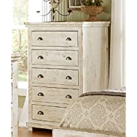 Progressive Furniture Wilow Chest, 38 by 18 by 52, Distressed White