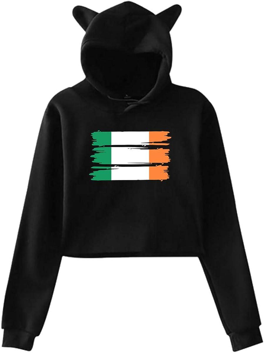 Womens Girls Cat Ear Pullover Hoodie Irish Flag Crop Top Sweatshirts