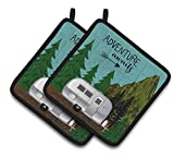 Caroline's Treasures Airstream Camper Adventure Awaits Pair of Pot Holders, 7.5HX7.5W, Multicolor