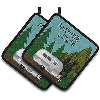 Caroline's Treasures VHA3022PTHD Airstream Camper Adventure Awaits Pair of Pot Holders, 7.5HX7.5W, Multicolor