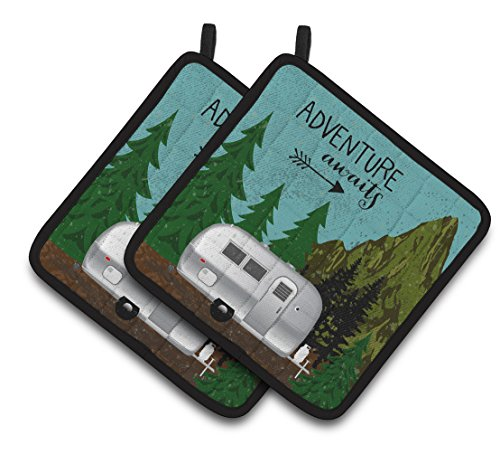 Caroline's Treasures Airstream Camper Adventure Awaits Pair of Pot Holders, 7.5HX7.5W, Multicolor by Caroline's Treasures