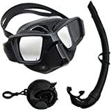 Scuba Choice Spearfishing Free Dive Ultra Comfort Fit Silicone Dive Mask and Travel Snorkel Set