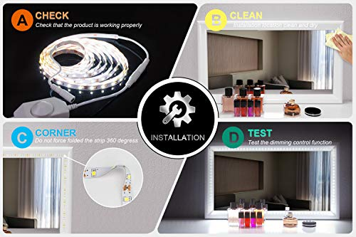 LED Vanity Mirror Lights Kit for Makeup Dressing Table Vanity Set 13ft Flexible LED Light Strip 6000K Daylight White with Dimmer and Power Supply, DIY Mirror, Mirror not Included by PANGTON VILLA (Image #3)'