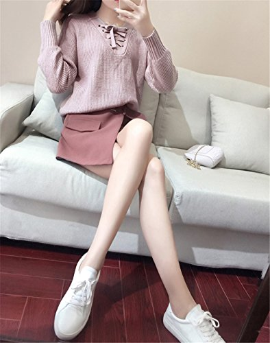 JOTHIN 2017 Donna Estive Corea 2 Pezzi Manica lunga Casual Maglieria Gonne Pantalone Set Termico Tinta Unita Allacciatura Maglioni Moda Kilt due parti