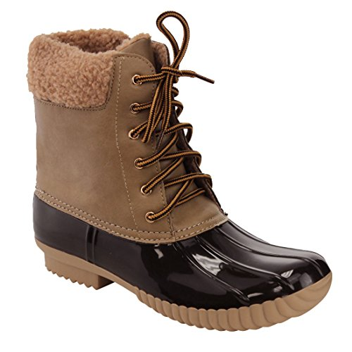 Nature Breeze Duck-02 Women Stitching Lace Up Side Zip Waterproof Insulated Boot Taupe Pu