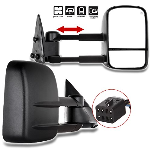 (OCPTY Pair Set GM1320411 GM1321411 Power Heated View Towing Mirrors for 99 00 01 02 Chevy GMC Silverado Sierra, Chevy GMC Suburban Tahoe Yukon XL Yukon Black Tow)