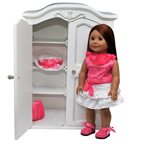"(The Queen's Treasures Victorian Style Armoire. Storage Trunk Case Closet Fits 18 Inch "" American Girl Doll Furniture, Clothing & Accessories.)"