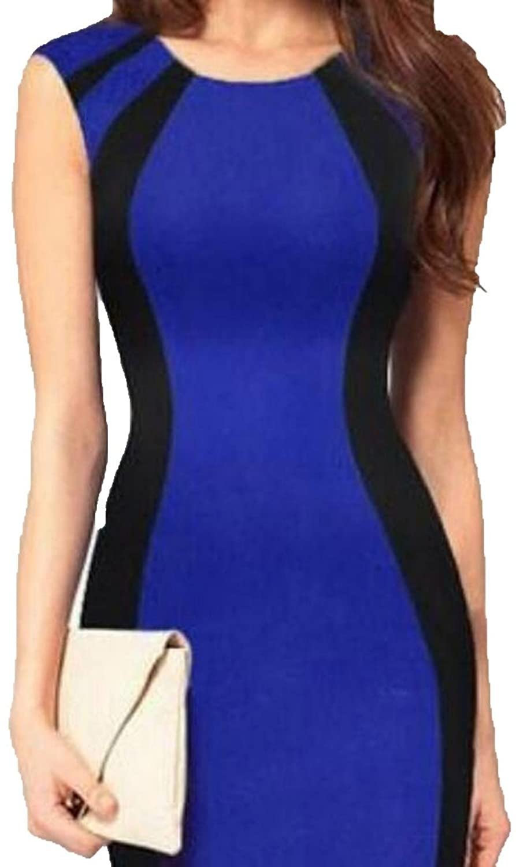 Generic Womens Sleeveless Splice Slim Round Neck Bodycon Dress