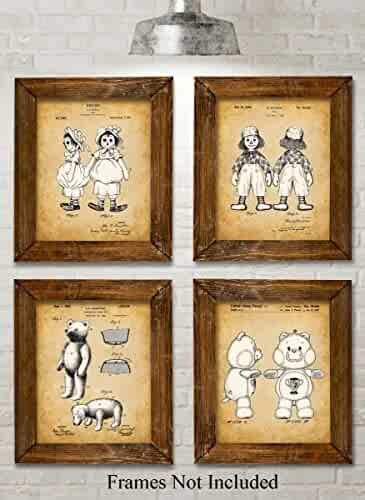 Original Dolls Patent Art Prints - Set of Four Photos (8x10) Unframed - Great Gift for Doll Collectors or Girl's Room