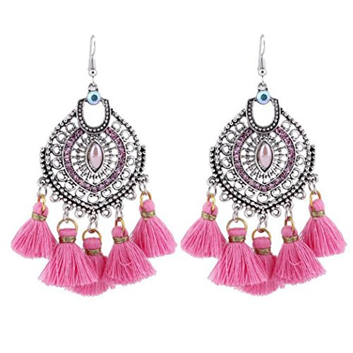 Elogoog Vintage Bohemia Sliver Crystal Chandelier Long Tassel Drop Dangle Hook Earrings for Women Girl (Pink) (Vintage Chandelier Necklace Crystal)