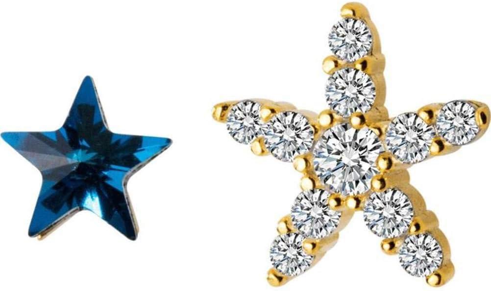 WOZUIMEI S925 Pendientes de Estrella de Mar de Diamantes de Plata Mujeres Corea Pequeños Pendientes Frescos Adorables Asimétricos Blue Diamond Star Joyasoro, Plata 925