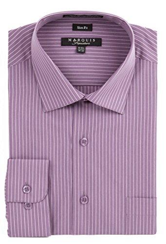 Purple Stripe Dress Shirt (Marquis Men's Grape Pin Striped Slim Fit Dress Shirt)