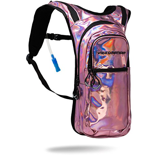 Vibedration Holographic Festival Hydration Pack | 2L Water Capacity | Rave Hydration, Festival Fashion, Hiking & Camping (Light Pink) - Pink Hydration Pack