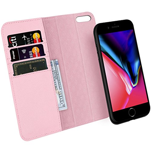 - Zover iPhone 7 8 Wallet Case Detachable Genuine Leather Luxury Series Support Wireless Charging Magnetic Car Mount Holder Kickstand Feature Card Slots Magnetic Closure Gift Box Pink