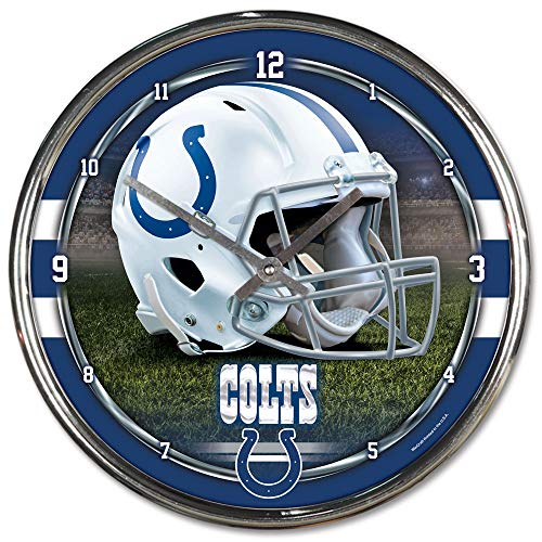 Nfl Football Team Chrome Wall Clock , Indianapolis Colts , 12-Inch