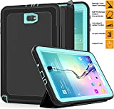 Samsung Galaxy Tab A 10.1'' Case, SAYMAC Heavy Duty Shockproof 3-Layer Full Protection Rugged Hybrid Defender Armour with Magnetic PU Leather Folding Cover with Auto Wake / Sleep for Samsung Tab A 10.1 SM-T580N/T585C--Kids Students Workmen Builders Case (Black/Lightblue)