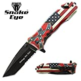 Snake Eye Tactical 3D Print Design Rescue Style Folding Pocket Knife Outdoors Hunting Camping Fishing (Heritage Not Hate) USA CSA FLAG