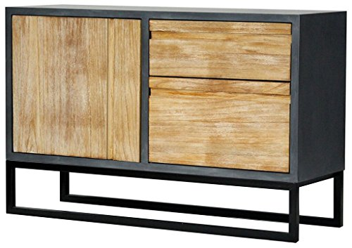 Heather Ann Creations The Nova Collection Modern Style Wooden 2 Drawer 1 Door Entry Way Dining Room Sideboard Cabinet, Grey and White Wash by Heather Ann Creations
