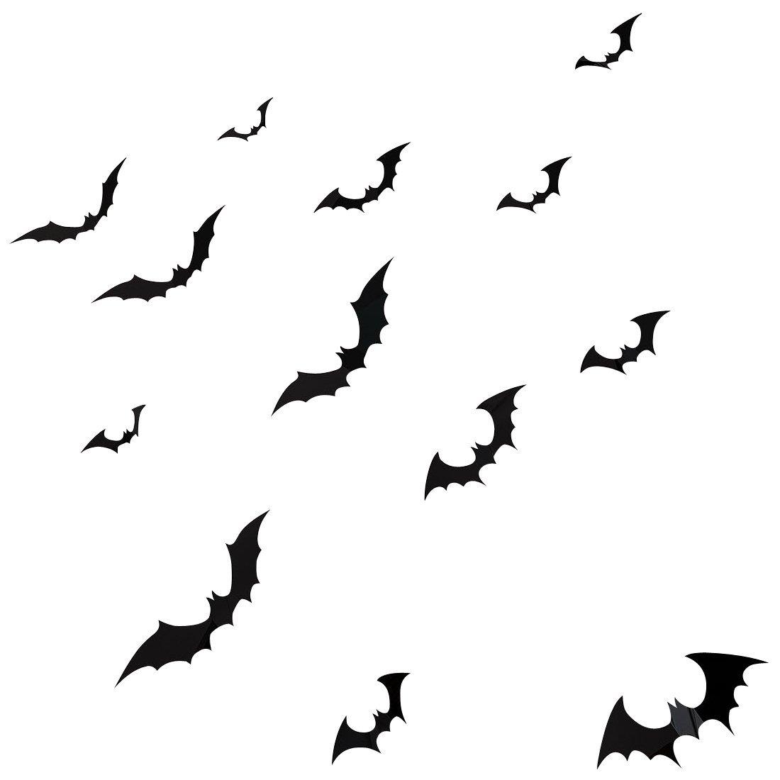 YINGKAI DIY Halloween Party 15pcs/pack Black PVC 3D Decorative Bats Butterfly Wall Decal Wall Sticker, Halloween Eve Decor Home Window Decoration