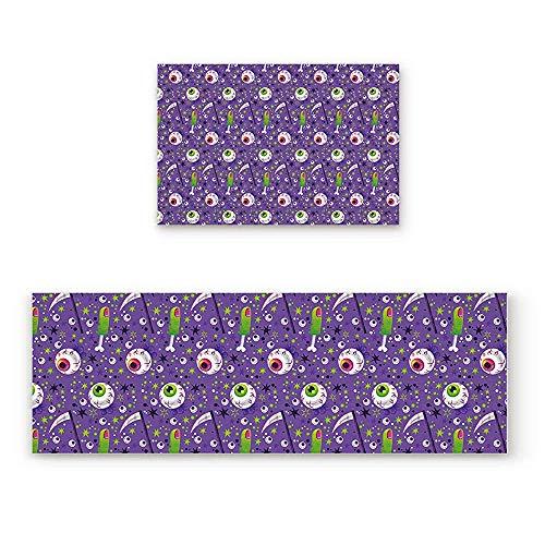 YGUII Halloween Horro Eyeball 2 Piece Doormat Hallway Kitchen Runner Rug Carpet (Non-Slip) Rubber Backing Area Rug Set Floor Mat -