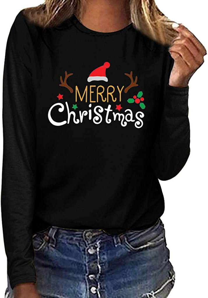 Dunacifa Merry Christmas Women Plus Size T Shirt Xmas Print Round Neck Long Sleeve Blouse Tee Tops