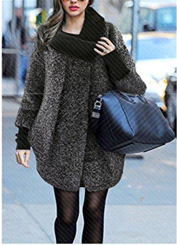 de Suelta Grande de YOGLY Lana Cuello Chaqueta Mujer Abrigos Invierno Talla Abrigo Murciélago Mangas Alto Gris aa4wfIx
