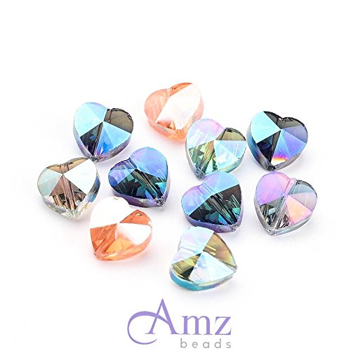 Crystal Ab Heart Beads (AMZ Beads - Assorted Faceted Crystal Glass Iridescent AB Heart Beads Vertical Hole - Pack of 50)